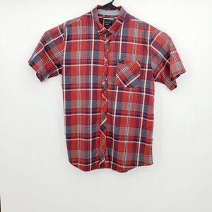 RVCA Men's Regular Fit Plaid  Button Down Shirt L